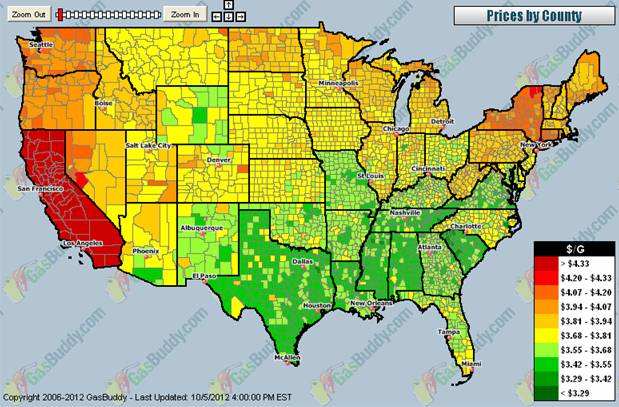Gas prices across the country.