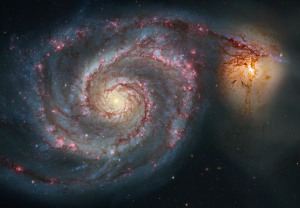 Like this whirlpool galaxy from a Hubble image seems to get power sipohed away, so the states must siphon back power from the federal government.